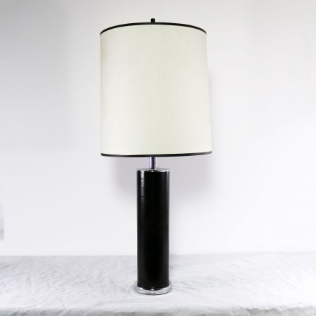 Chrome & Black Faux Leather International Style Cylindrical Table Lamp After Walter von Nessen