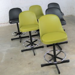 Mid Century Modern Samsonite Bar or Counter Stools 2 Sets NOS 3 Black or 3 Asparagus