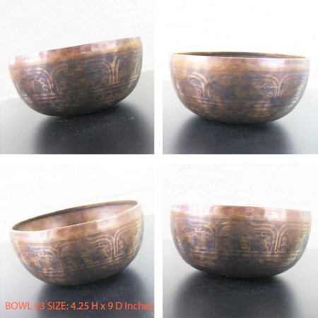 Vintage Set of 6 Bronze Nesting Incised Singing Bowls or Standing Bowls with Mallets