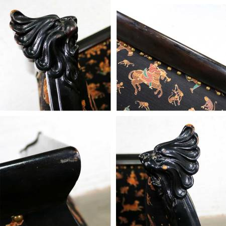 Antique Victorian Wishbone Barrel Chair Carved Lion's Heads and Claw Feet Ebonized