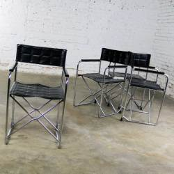 HOLD – Folding Campaign Style Director's Chairs Black Vinyl & Chrome Style of Gae Aulenti Set 4