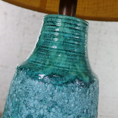 Large Mid Century Modern Turquoise Lava Glaze Ceramic Table Lamp after Fantoni
