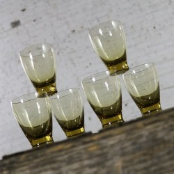 Russel Wright Chartreuse Morgantown American Modern Juice Glasses Set Six