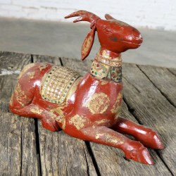 Carved Wood Recumbent Deer with Jewels and Gilding from Thailand