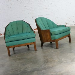 A Brandt Company Ranch Oak Cowboy Western Style Barrel Club Chairs a Pair
