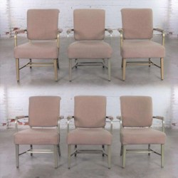 Mid Century Machine Age Aluminum Goodform Arm Chairs by General Fireproofing Set 6