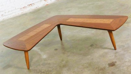 Mid Century Modern Lane Boomerang Coffee Table With Inlaid Burl Style 1929 Warehouse 414