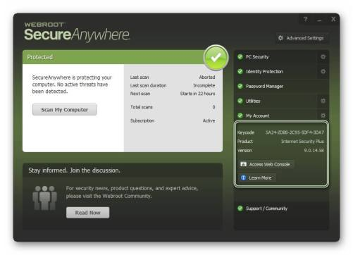 Webroot SecureAnywhere Antivirus 2017 Keycode