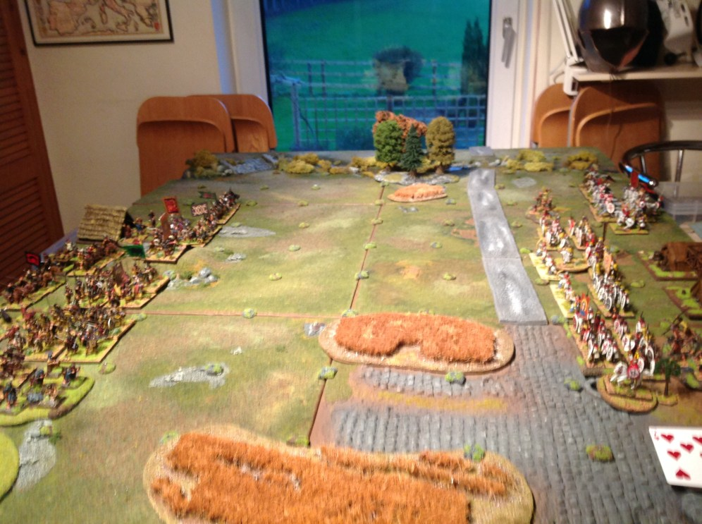 The forces set out for battle. Picts and Angles to the East and British to the West. The road runs from North to South with the Watch tower to the North.