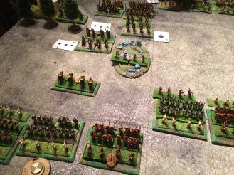 The slingers advance into the rough ground as the Light Horse close.