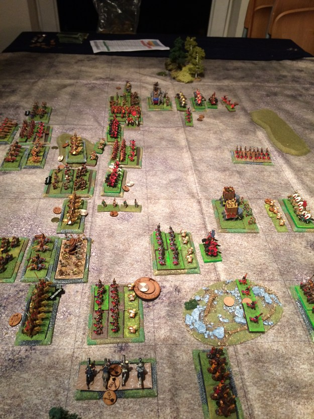 The Roman centre is pushing forwards as are the right infantry units. However the Persian units on their far left with the Elephants are making progress.