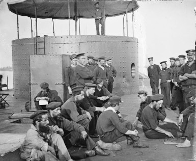 Sailors relaxing on the deck of USS Monitor