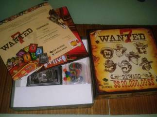 Wanted 7 board game from GDM games box and content
