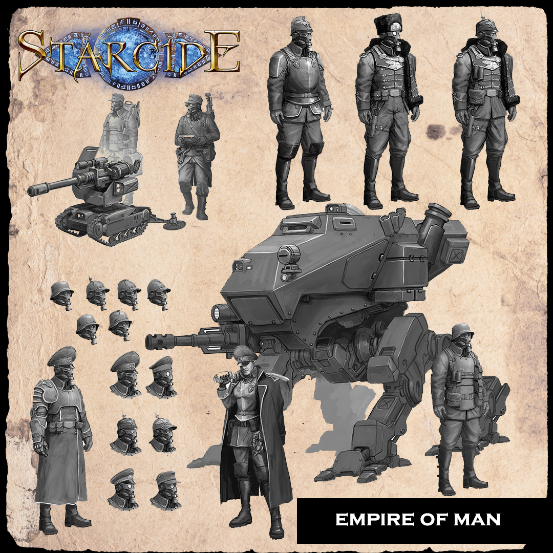 Starcide, facción Empire of Man, evidentemente inspirado en los Nazis