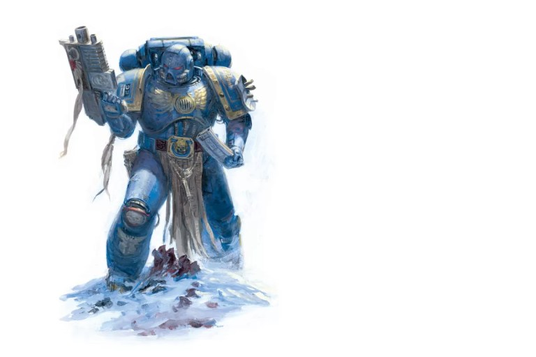 Space Marine from the Ultramarines Chapter reloads his bolter, the standard weapon of the Space Marines. Artist – Paul Dainton Released – 2012