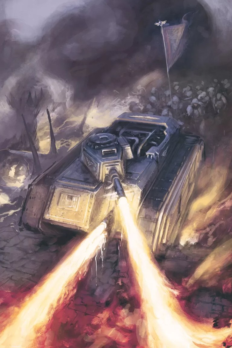 A Hellhound Tank of the Astra Militarum, one of number of gun platforms to use the ubiquitous Chimera chassis. Artist – Alex Boyd Released – 2009