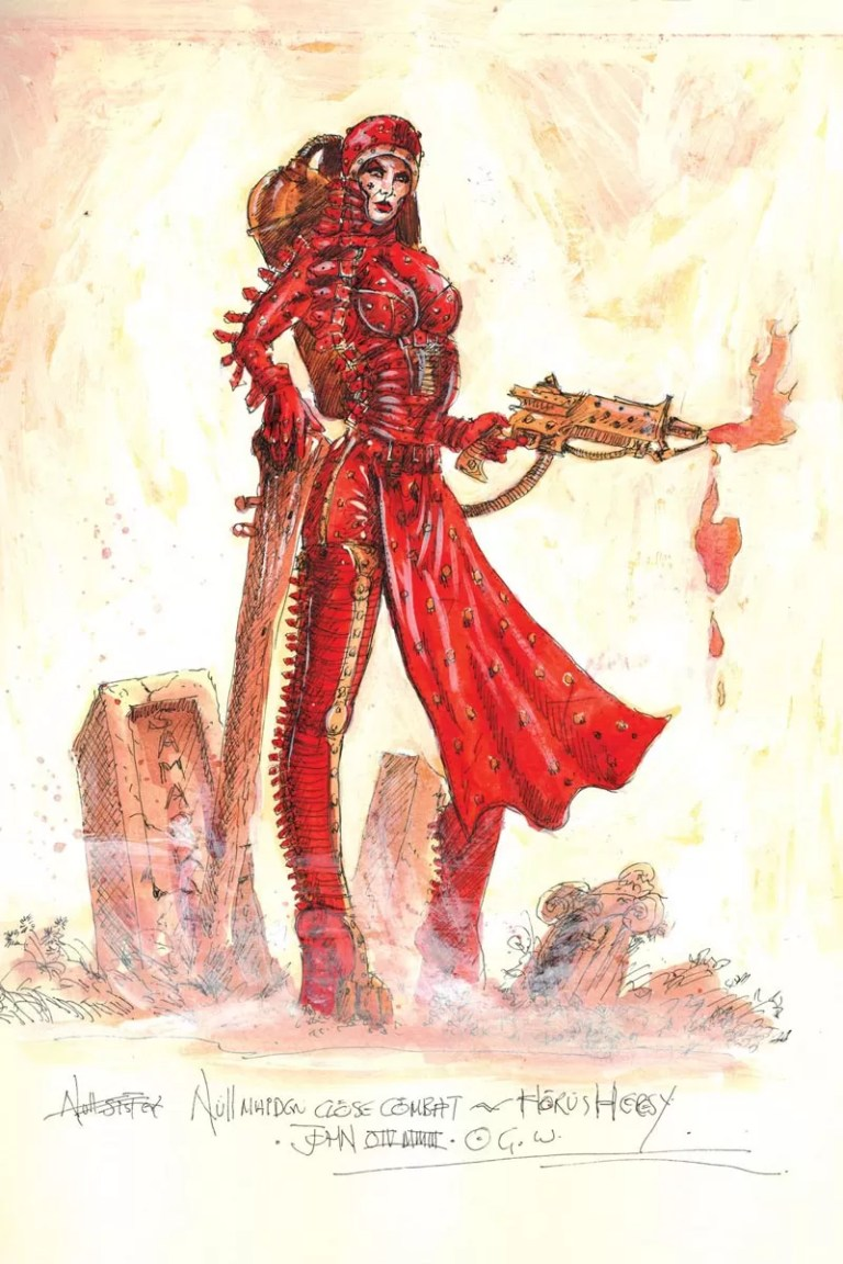 A Null Maiden. A psychic blank, she is immune to the corrupting effects of the Warp. Most common around the time of the Horus Heresy.