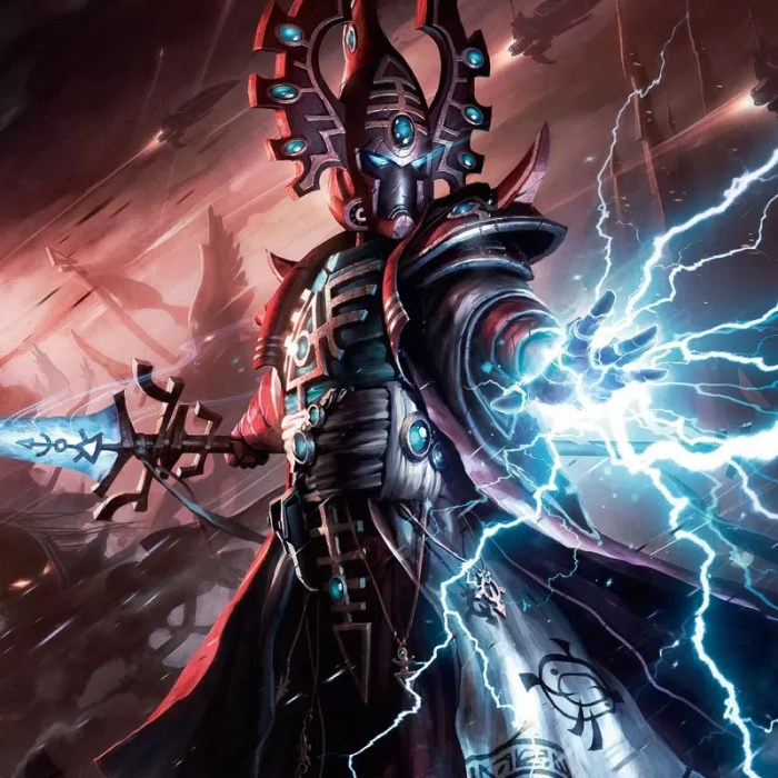 Singing Spear in hand, this Eldar Farseer harnesses the power of the warp, casting lightning from his fingertips to slay an unseen enemy.