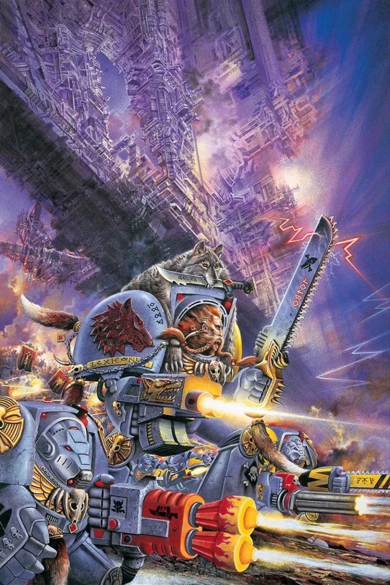 This image adorned the cover of the second edition Space Wolf Codex. The red weapon covers hark back to an earlier time that old school gamers will remember fondly.