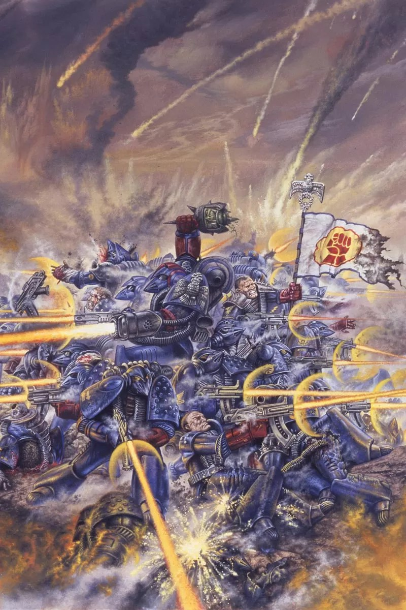 Crimson Fist Space Marines defend a hill from marauding Orks. This seminal image was for many, the first glimpse of the Warhammer 40,000 universe.