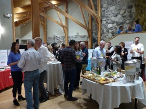 Exhibitors and attendees at Friday reception