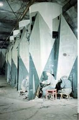 V-2 rocket assembly in Mittelwerk. Concentration camp inmates.