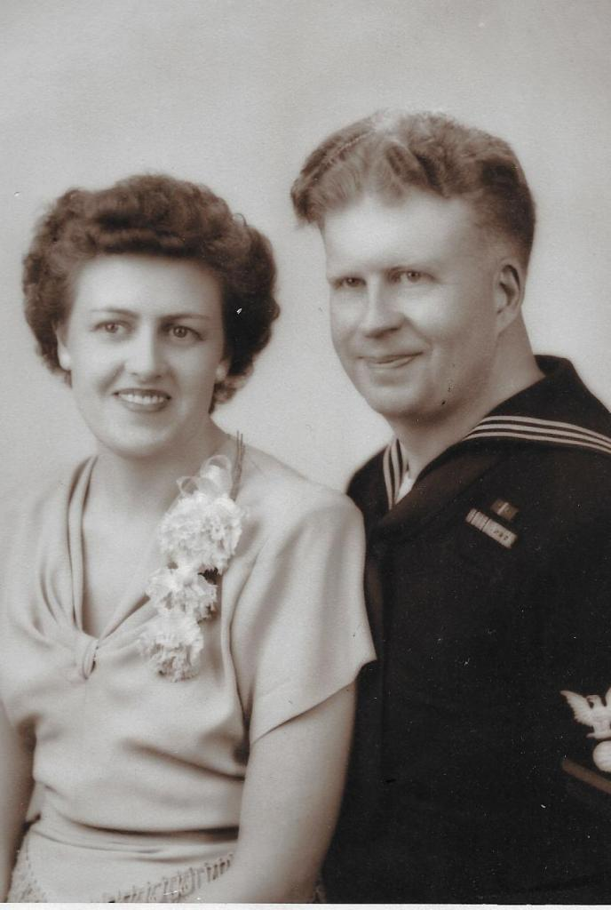 John Peterson's father and mother, Ernest and Meta Peterson, in their wedding photo in 1945.