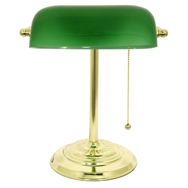 Green glass desk lamp