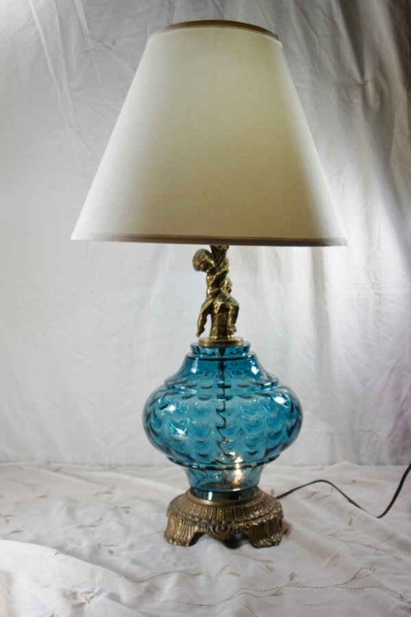 Vintage Blue Glass Table Lamp