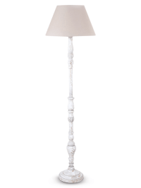 White wooden floor lamp