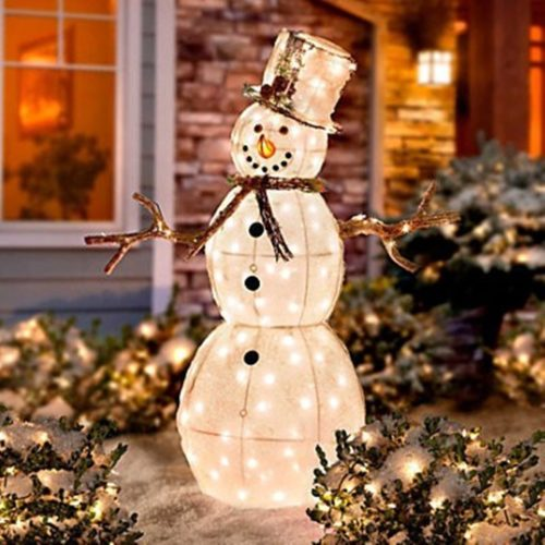 Wondrous Outdoor Plastic Christmas Decorations Agreeable Vintage Lighted Molds Of Santa Snowman And A Angel