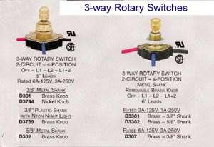 Rotary lamp switch  Rotate to the correct light