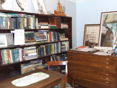 Some of the books and pictures in the new library