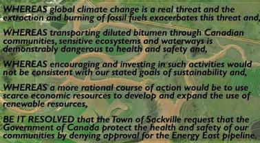Text of Bill Evans's motion opposing Energy East pipeline