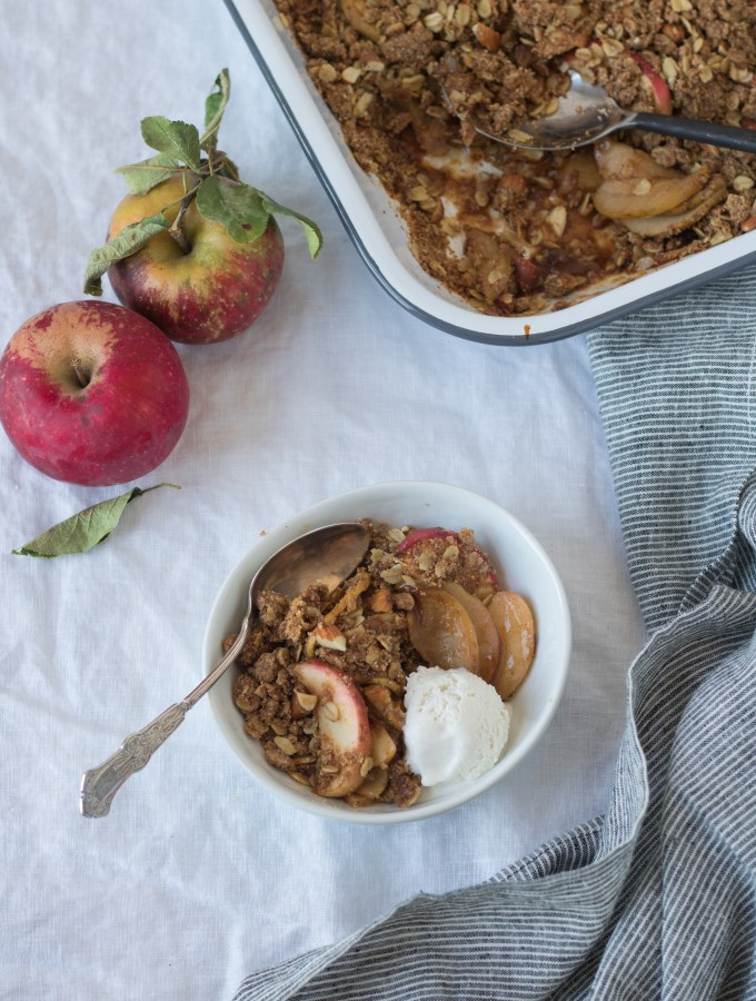 Apple Crisp with Ghee + Almond Butter – naturally sweetened