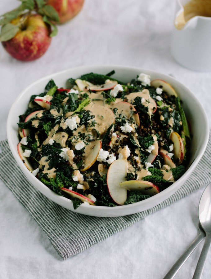 Kale, Apple + Crispy Lentil Salad with Ginger Almond Butter Dressing