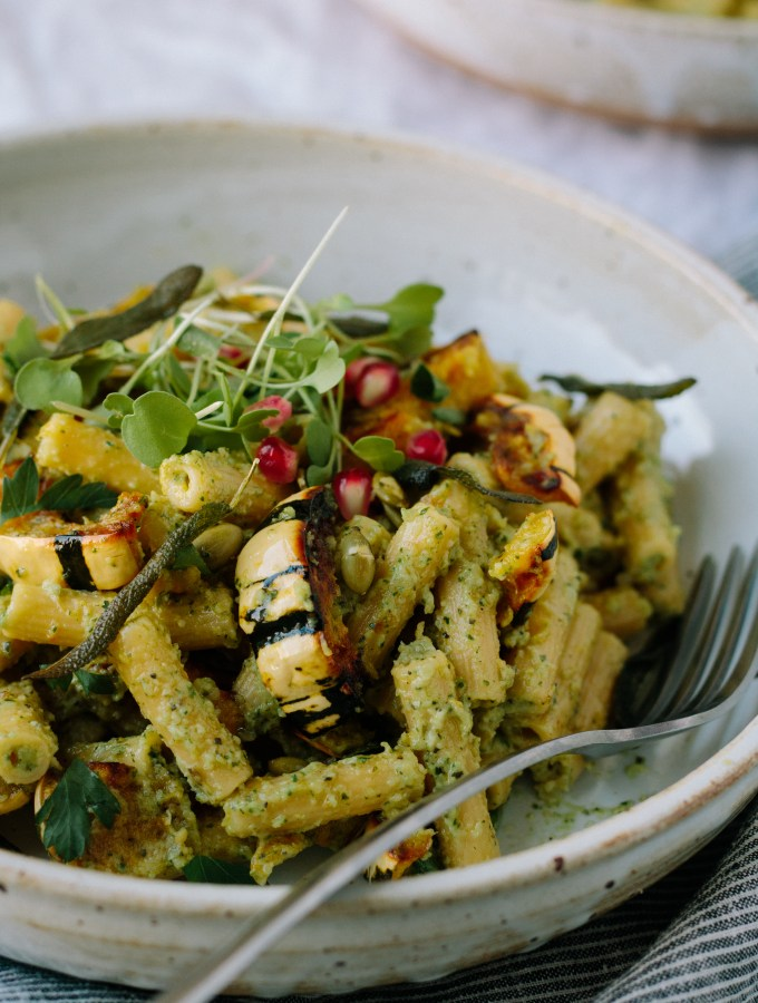Pasta with Roasted Delicata Squash + Creamy Sage and Arugula Pesto – Gluten-Free and Dairy-Free