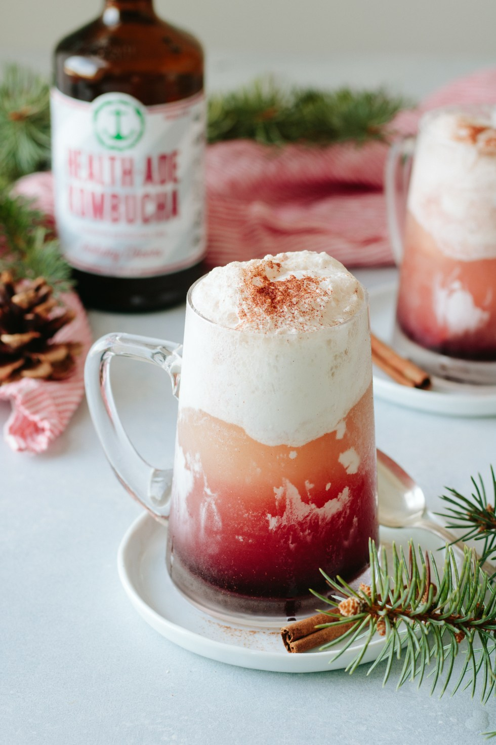 Spiced Pomegranate Kombucha Float with Health-Ade Holiday Cheers