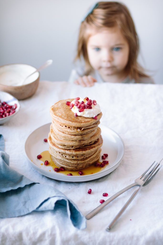 Cardamom Spiced Spelt and Almond Flour Pancakes + Orange-Vanilla Bean Yogurt and Pomegranate Seeds — warmandrosy.com