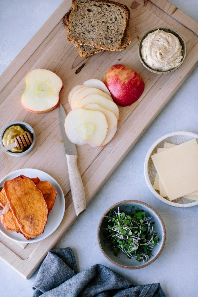 Sweet Potato, Apple, Hummus + Cheddar Sandwiches