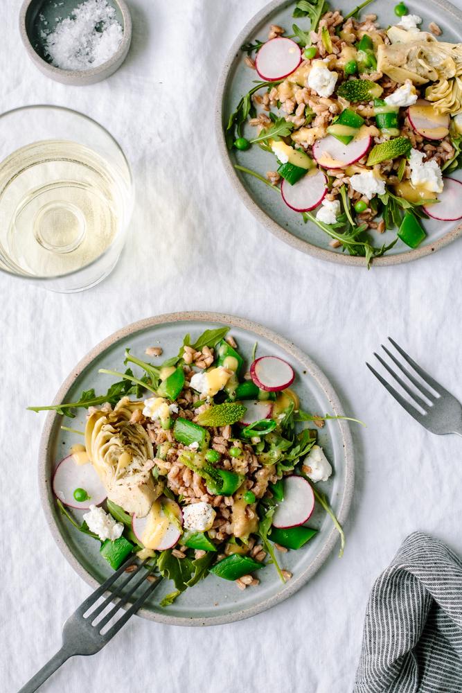 Spring Farro and Arugula Salad with Peas, Artichoke, Radishes and Goat Cheese — warmandrosy.com