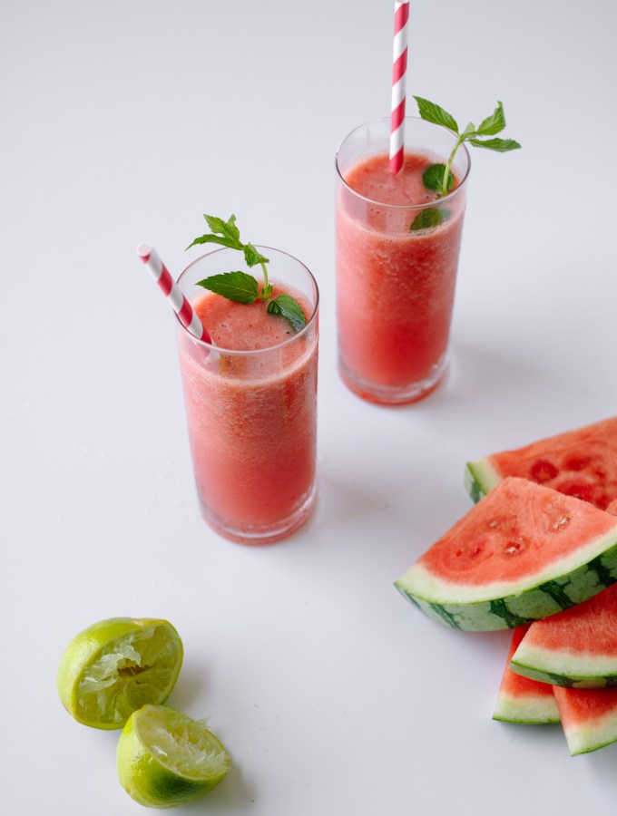 Watermelon + Strawberry Cooler with Coconut Water and Lime — warmandrosy.com