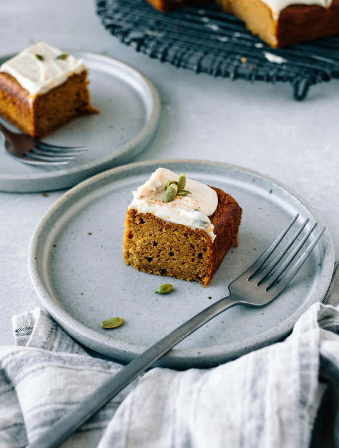 Spiced Pumpkin Snack Cake with Vegan Maple Cream Cheese Frosting – Gluten-free + Dairy-free