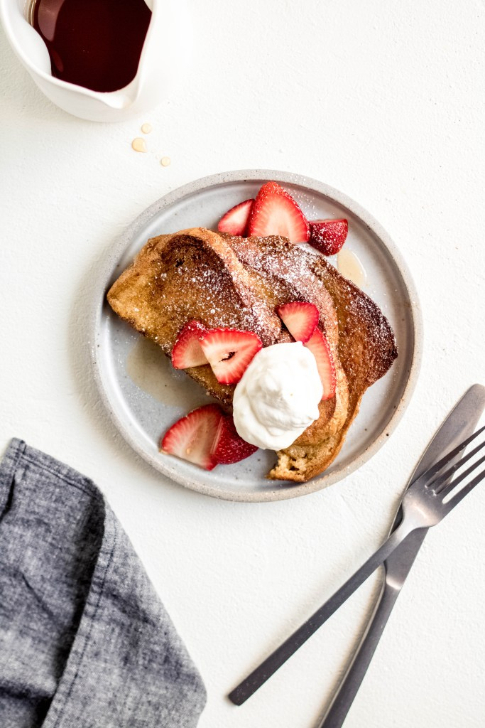 Baked Overnight French Toast with Orange, Cardamom + Strawberry — warmandrosy.com