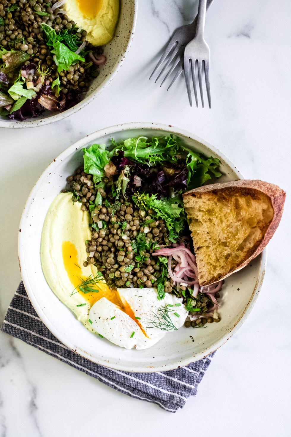 Marinated Lentils + Poached Eggs with Curried Yogurt — warmandrosy.com