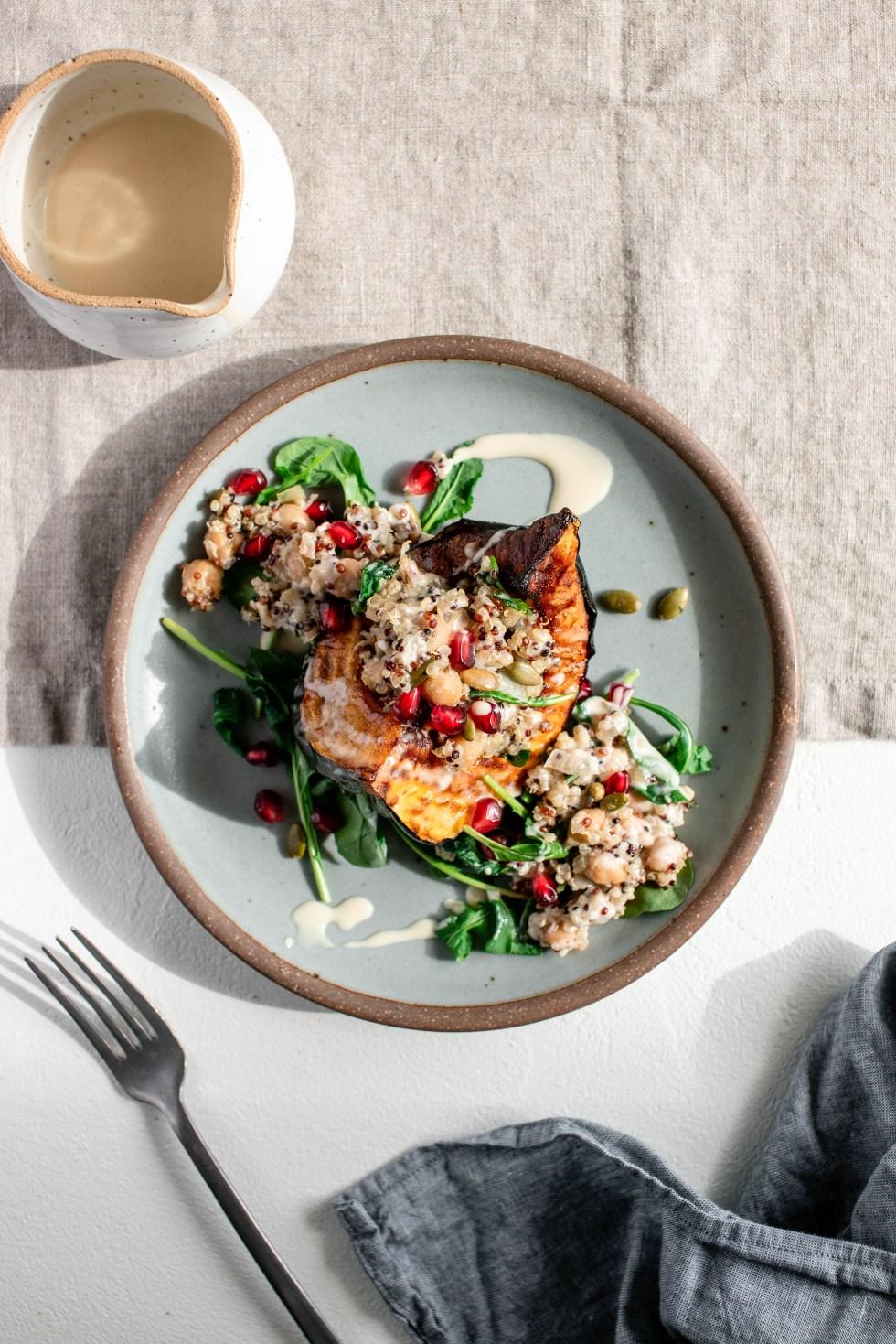 Stuffed Acorn Squash with Quinoa, Chickpeas + Maple Tahini Dressing — warmandrosy.com