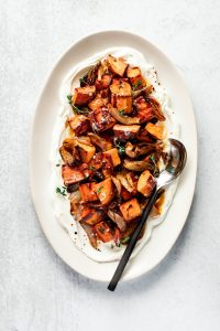 Balsamic Roasted Sweet Potatoes + Shallots with Yogurt — warmandrosy.com
