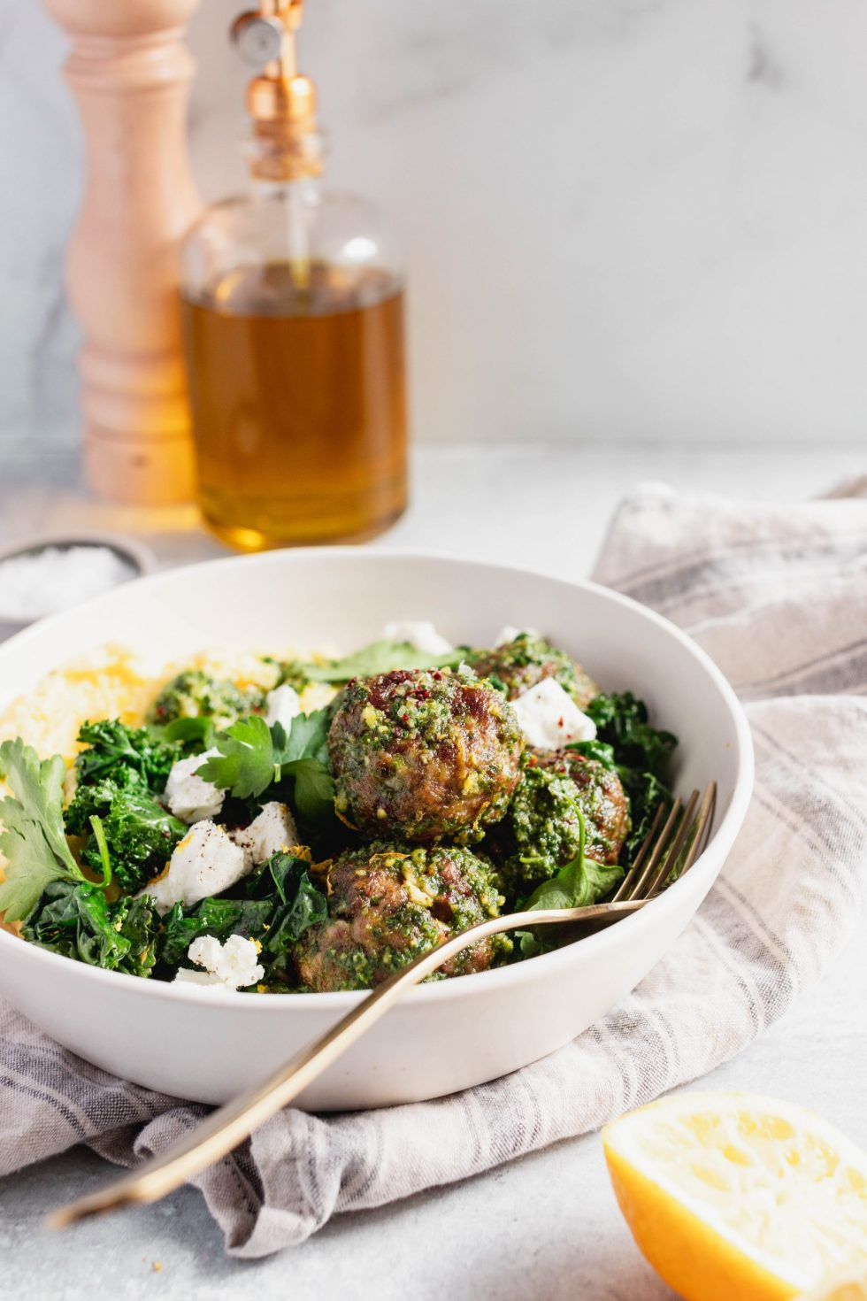 Pesto Turkey Meatballs and Goat Cheese Polenta — warmandrosy.com