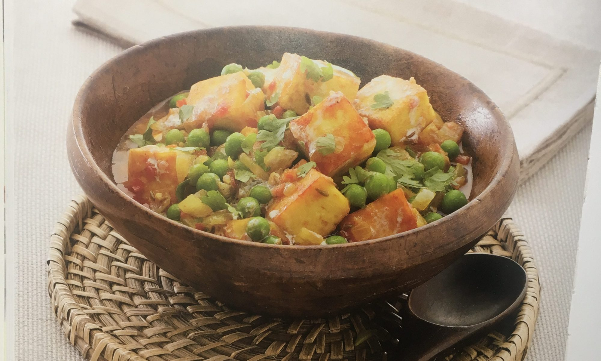 Paneer with peas