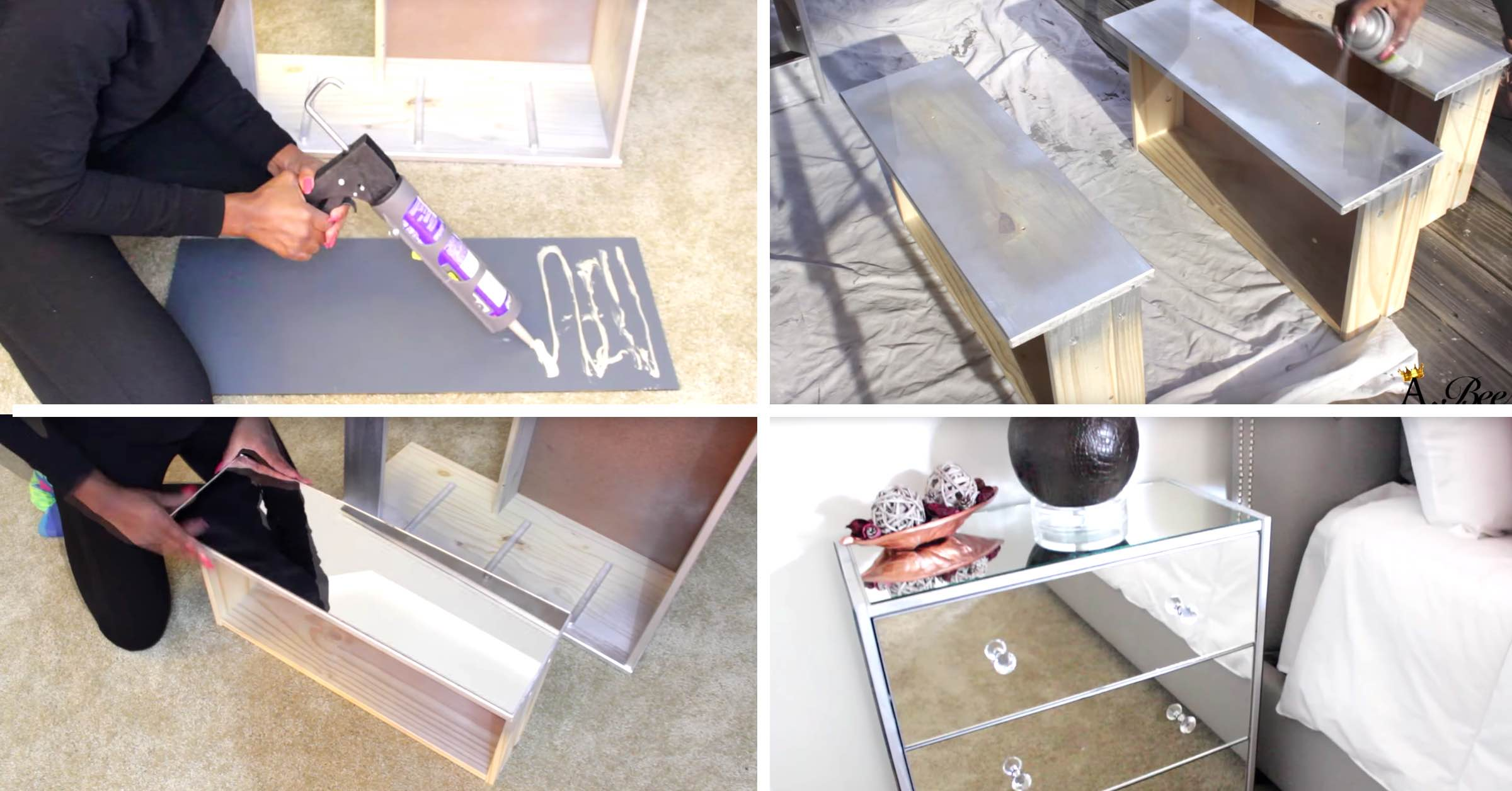 this diy mirrored nightstand worked up